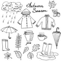 Autumn season set doodles elements Hand drawn set with umbrellas cup of hot tea rain rubber boots clothes and leaves collection Drawing doodle collection isolated on white background vector