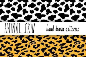 Animal skin hand drawn texture Vector seamless pattern set sketch drawing cheetah Dalmatian skin textures