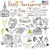Thanksgiving doodles set Traditional symbols sketch collection food drinks turkey pumpkin corn wine vegetables Indians and pilgrims items Freehand vector drawing and lettering