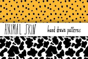 Animal skin hand drawn texture Vector seamless pattern set sketch drawing leopard dots and cow skin textures