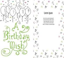 Hand drawn Birthday greeting card party background with balloons confetti hand written lettering text birthday wish vector