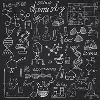 Chemistry and science elements doodles icons set Hand drawn sketch with microscope formulas experiments equipment analysis tools vector illustration
