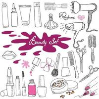 Hand drawn collection of make up cosmetics and beauty items set with hairbrushes dryers lipstick and nails illustration isolated vector