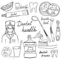 salud dental garabatos iconos conjunto boceto dibujado a mano con dientes pasta de dientes cepillo de dientes dentista enjuague bucal e hilo dental ilustración vectorial aislado vector