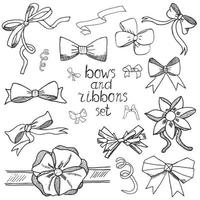 Hand drawn ribbons and bows set vector illustration A collection of graphic ribbons and bows design elements set