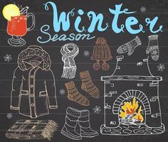 Winter season set doodles elements Hand drawn set with glass of hot wine boots clothes fireplace warm blanket socks and hat and lettering words Drawing set on chalkboard vector