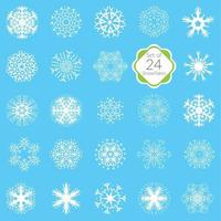 Vector illustration snowflakes set various designs symmetrical snow crystals made from hand drawn elements