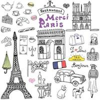 Paris doodles elements Hand drawn set with Eiffel tower bred cafe taxi triumph arch fashion elements cat and French bulldog Drawing doodle collection and lettering isolated on white vector