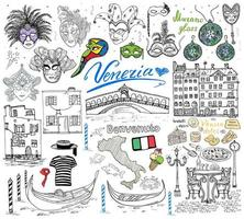 Venice Italy sketch elements Hand drawn set with flag map gondolas gondolier clothes houses pizza traditional sweets carnival venetian masks market bridge Drawing doodle collection isolated vector