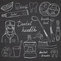 salud dental garabatos iconos conjunto boceto dibujado a mano con dientes pasta de dientes cepillo de dientes dentista enjuague bucal e hilo dental ilustración vectorial sobre fondo de pizarra vector