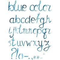Alfabeto de fuente artística acuarela dibujada a mano con signos de puntuación vector