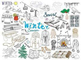 Winter season set doodles elements Hand drawn set with glass hot wine boots clothes fireplace mountains ski and sledge warm blanket socks and hats and lettering words Drawing set isolated vector