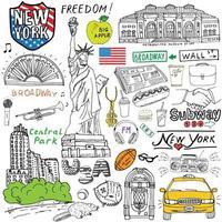 ciudad de nueva york garabatos elementos dibujados a mano conjunto con taxi café perrito caliente estatua de la libertad broadway música café periódico museo parque central dibujo doodle colección aislado en blanco vector
