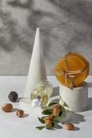 Disposición de la vista frontal del producto de argán natural. foto