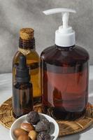 Front view arrangement of natural argan product photo