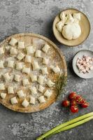 Creative arrangement of tasty food photo