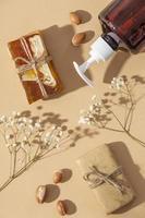 Flat lay arrangement of argan oil care product photo