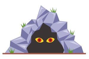 Ojos de miedo en una ilustración de vector plano cueva oscura aislada sobre fondo blanco