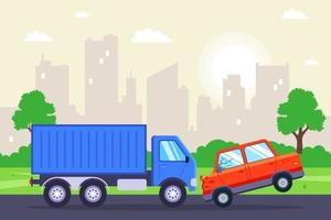 a passenger car crashed into a truck flat vector illustration