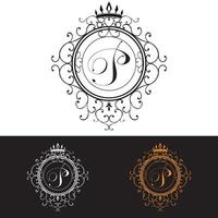 Letter P Luxury Logo template flourishes calligraphic elegant ornament lines Business sign identity for Restaurant Royalty Boutique Hotel Heraldic Jewelry Fashion vector illustration