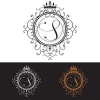 Letter S Luxury Logo template flourishes calligraphic elegant ornament lines Business sign identity for Restaurant Royalty Boutique Hotel Heraldic Jewelry Fashion vector illustration