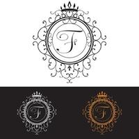 Letter F Luxury Logo template flourishes calligraphic elegant ornament lines Business sign identity for Restaurant Royalty Boutique Hotel Heraldic Jewelry Fashion vector illustration