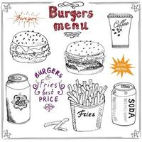 Burger Menu hand drawn sketch Fast food Poster with hamburger cheeseburger potato sticks soda can coffee mug and beer can Vector illustration with lettering