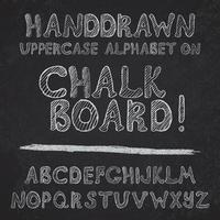 Hand drawn alphabet design on chalk board rough vector font uppercase letters