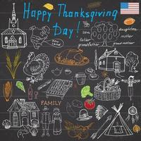 Thanksgiving doodles set Traditional symbols sketch collection food drinks turkey pumpkin corn wine vegetables Indians and pilgrims items Freehand vector drawing and lettering on chalkboard
