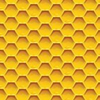 Honeycomb colorful Seamless pattern honeycombs with honey drops inside gold background vector