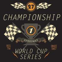 camiseta impresión diseño tipografía gráficos speedway campeonato palabra copa serie vector ilustración insignia aplique etiqueta