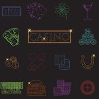Casino and gambling line icons set with slot machine and roulette chips poker cards money dice coins horseshoe flat design vector illustration