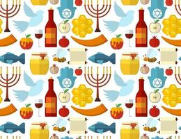 Rosh Hashanah Shana Tova or Jewish New year seamless pattern with honey apple fish bee bottle torah and other traditional items vector