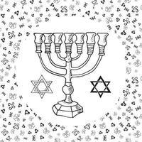 Hand drawn sketch of menorah traditional Jewish religious symbols Rosh Hashanah Hanukkah Shana Tova vector illustration on ornamental pattern