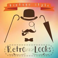 Retro gentleman elements set bowler moustache tobacco pipe monocle cane and umbrella on hipster background Vintage sign design Old fashioned theme label vector