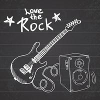 Rock Music Hand drawn sketch guitar with sound box and text love the rock vector illustration on chalkboard