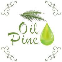 Gota de aceite cosmético de aceite de pino que cae de la hoja con elementos de decoración aislado sobre fondo blanco. vector