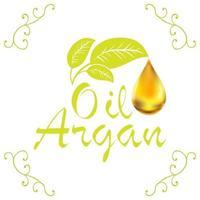 Gota de aceite cosmético de aceite de argán que cae de la hoja con elementos de decoración aislado sobre fondo blanco. vector