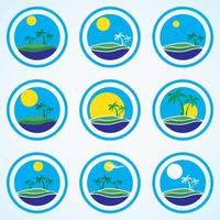 Palm trees and sun beach resort logo design template tropical island or vacation icon set vector