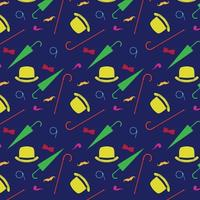 Retro gentleman elements bowler moustache tobacco pipe monocle cane and umbrella seamless pattern vector