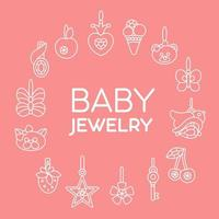 Icons of baby jewelry on color background set of icons vector line illustration
