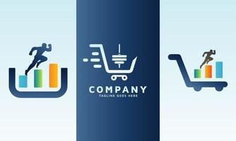 Financial race with business logo design set vector