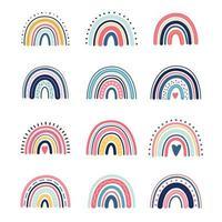 Cute boho rainbows vector