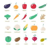 Simple vegetable icons vector