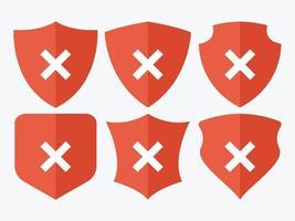 Cancelar conjunto de iconos de escudo de marca vector