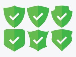 Check mark shield icons set vector