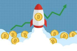 Rocket launches with bitcoin icon concept of cryptocurrency vector