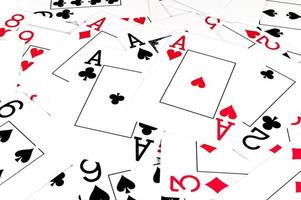 Isolated playing cards on white background photo