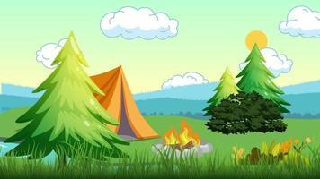 acampamento de verão perto do rio pela manhã video