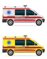 Ilustración de vector de vehículo médico de coche de ambulancia aislado sobre fondo blanco